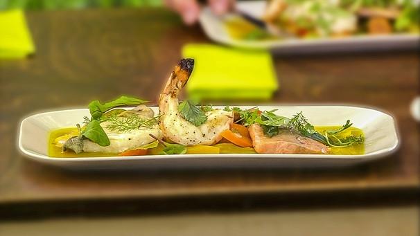 Rezept: Fisch-Bouillabaisse it gegrillen Zander, Saibling, Lachs und Forelle plus Garnelen