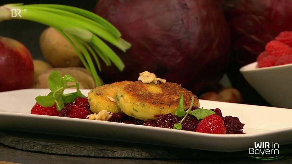 Rezept Andreas Geitl: Kartoffelpflanzerl mit Himbeer-Blaukraut