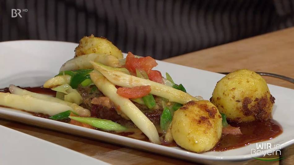 Rezept Andreas Geitl: Spargel-Rostbraten mit karamellisierten Kartoffeln