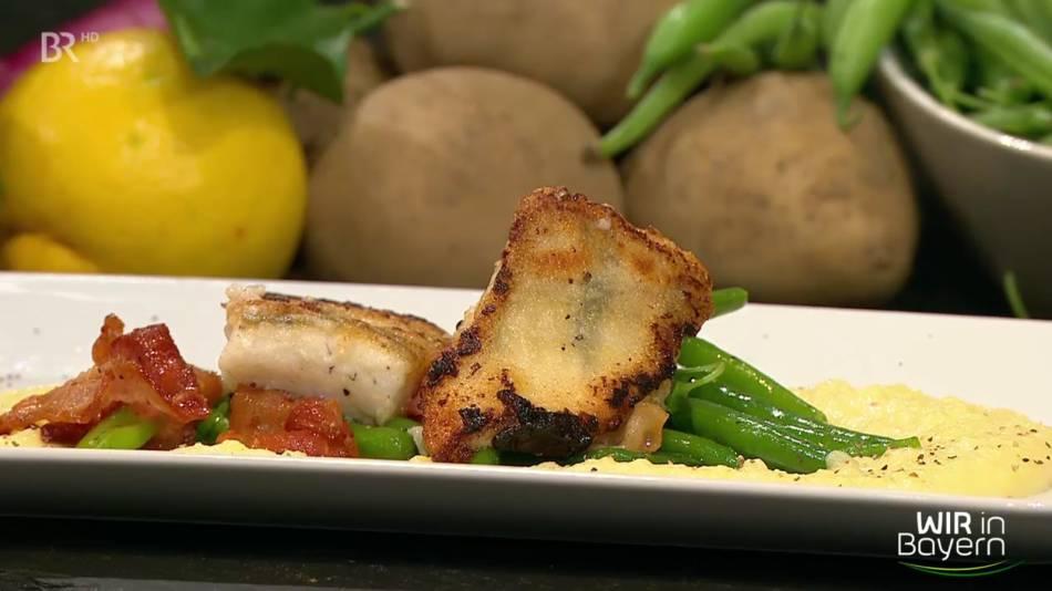 Zander mit Birnen, Bohnen, Speck und Kartoffelcreme