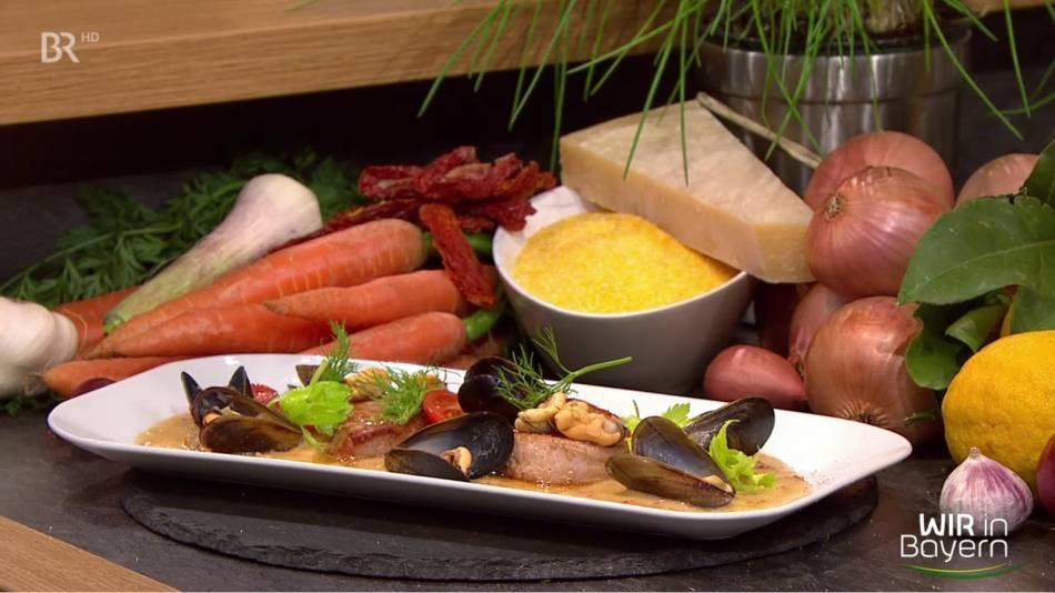 Rezept Andreas Geitl: Schweinefilet mit Polentasoße und Miesmuscheln