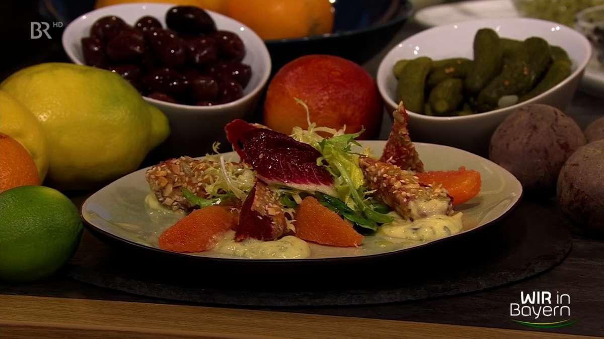 Rezept Andreas Geitl: Rote-Bete-Krusteln mit Blutorangensalat