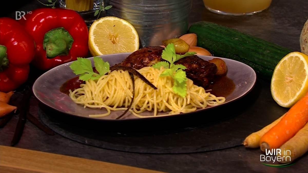 Rezept Andreas Geitl: Coq au Vin mit Vanillespaghetti