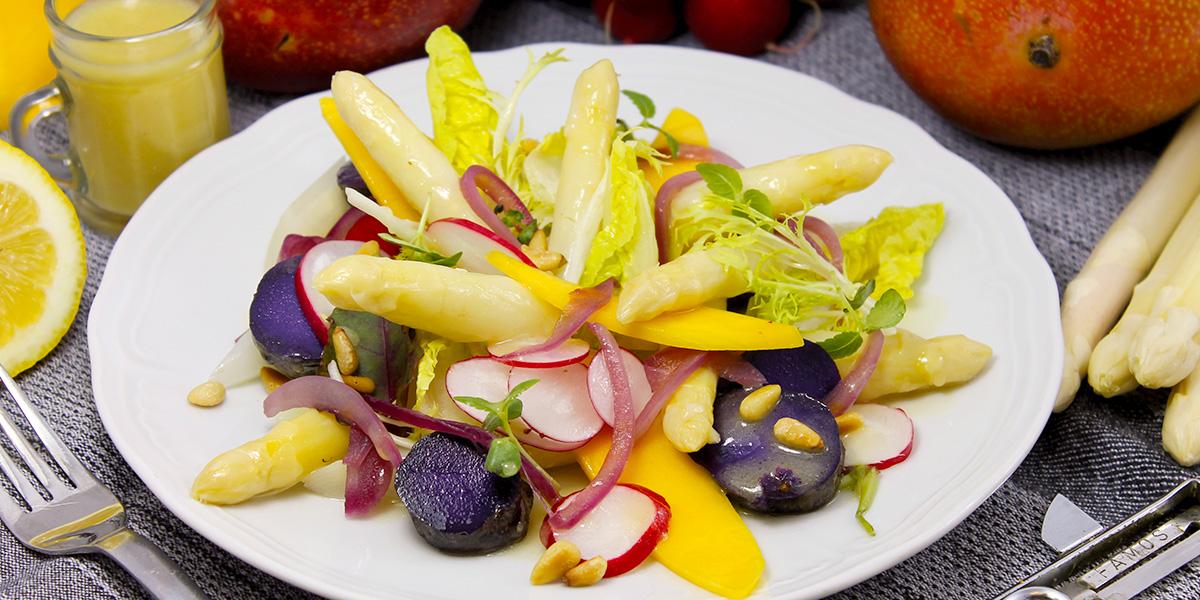 Startbild - Spargel-Rezepte - Blauer Kartoffelsalat mit Spargel